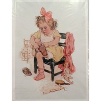 """Victorian Lithograph Print Picture Birthday Girl Slippers And Dolls 5"""" X 7"""""""
