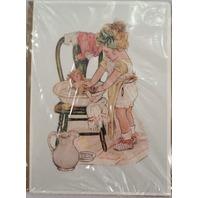 """Victorian Lithograph Print Picture Birthday Girl Giving Her Doll A Bath 5"""" X 7"""""""