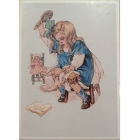 "Victorian Lithograph Print Picture Birthday Girl With Dolls Spanking 5"" X 7"""