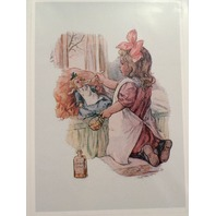 "Victorian Lithograph Print Picture Little Girl And Doll Giving Medicine  5"" X 7"""