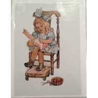 "Victorian Lithograph Print Picture Little Girl With Doll Sewing Mending 5"" X 7"""