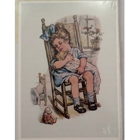 """Victorian Lithograph Print Picture Little Girl With Doll Rocking Chair 5"""" X 7"""""""