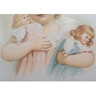 """Victorian Lithograph Print Picture Playmates Little Girl With Dolls  5"""" X 7"""""""