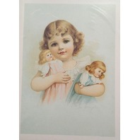 "Victorian Lithograph Print Picture Playmates Little Girl With Dolls  5"" X 7"""