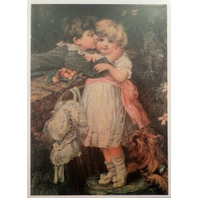 "Victorian Lithograph Print Picture Over The Garden Wall 5"" X 7"" Girl Boy Kissing"