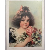 "Victorian Lithograph Print Picture Which Is Sweeter Girl With Flowers 5"" X 7"""