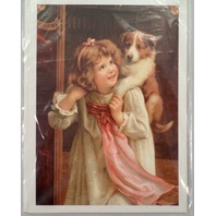"""Victorian Lithograph Print Picture Puppy Dog And Girl Hold On 5"""" X 7"""""""