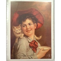 "Victorian Lithograph Print Picture Just For You Kitten Woman With Milk 5"" X 7"""