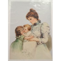 """Victorian Lithograph Print Picture Baby'S First Kiss Mother Children 5"""" X 7"""""""