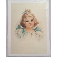 "Victorian Lithograph Print Picture Little Blue Eyes Girl 5"" X 7"""