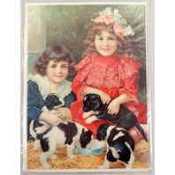 """Victorian Lithograph Print Picture Puppy Love Dogs And Children Kids 5"""" X 7"""""""