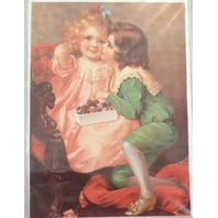 "Victorian Lithograph Print Picture Little Boy And Girl Candy Kids 5"" X 7"""