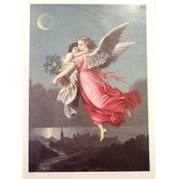 "Victorian Lithograph Print Guardian Angel And Little Girl Picture  5"" X 7"""