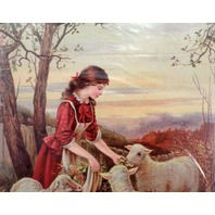"""Victorian Lithograph Print Picture Feeding Her Flock Girl And Sheep 5"""" X 7"""""""