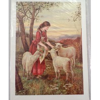 "Victorian Lithograph Print Picture Feeding Her Flock Girl And Sheep 5"" X 7"""