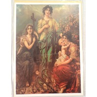 """Victorian Lithograph Print Picture Faith Hope And Charity Women Baby  5"""" X 7"""""""