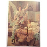 "Victorian Lithograph Print Picture Angel With Children Praying 5"" X 7"""