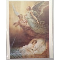 "Victorian Lithograph Print Picture Angel Over A Bed With Girl Praying  5"" X 7"""