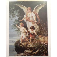 "Victorian Lithograph Print Picture Angel With Children By Cliff  5"" X 7"""