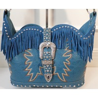 Montana West Sweetheart Fringe Handbag Purse Silvertone Studding New Belt Buckle