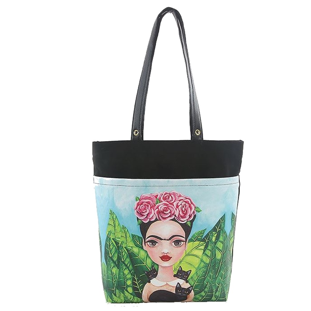 Lady Frida and her Beautiful Cats Licensed Canvas Tote Purse Handbag Bag