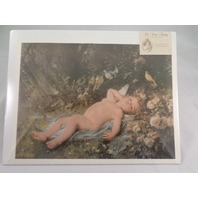 "Victorian Lithograph Print Picture ""Resting Cupid"" Angel Baby 12X16"