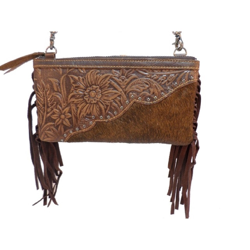 Western Inspired Montana West Purse Genuine Tooled Leather Fur Cross Body Purse