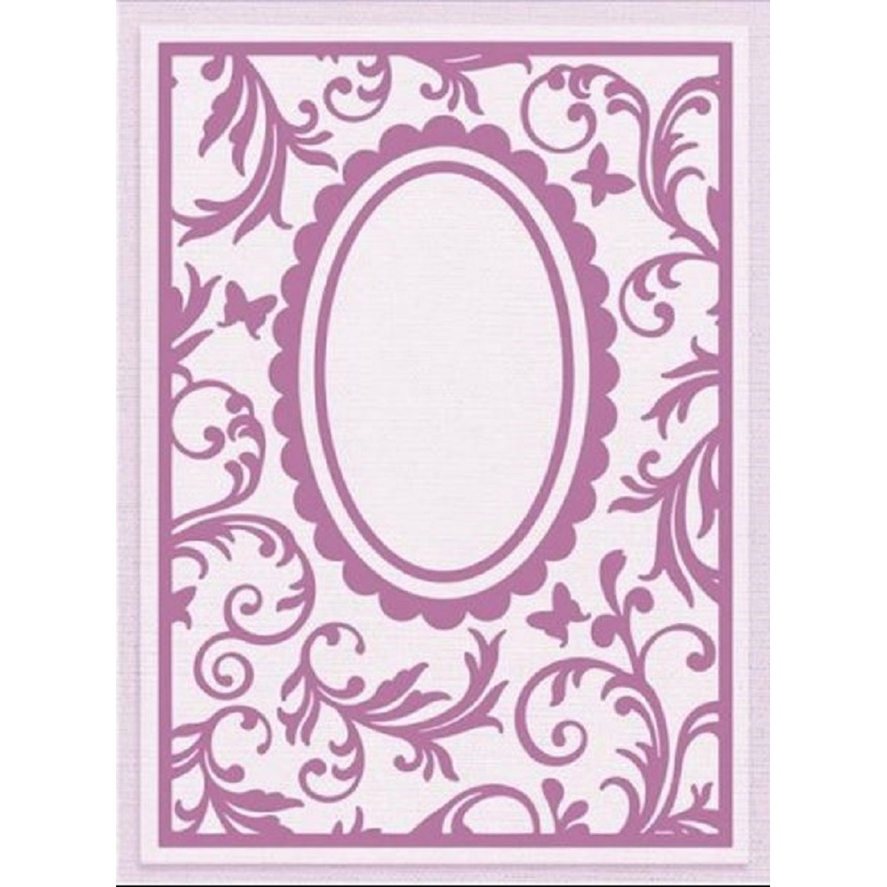 Crafter's Companion Embossing Folder Filigree Frame Butterfly Lullaby 5 x 7