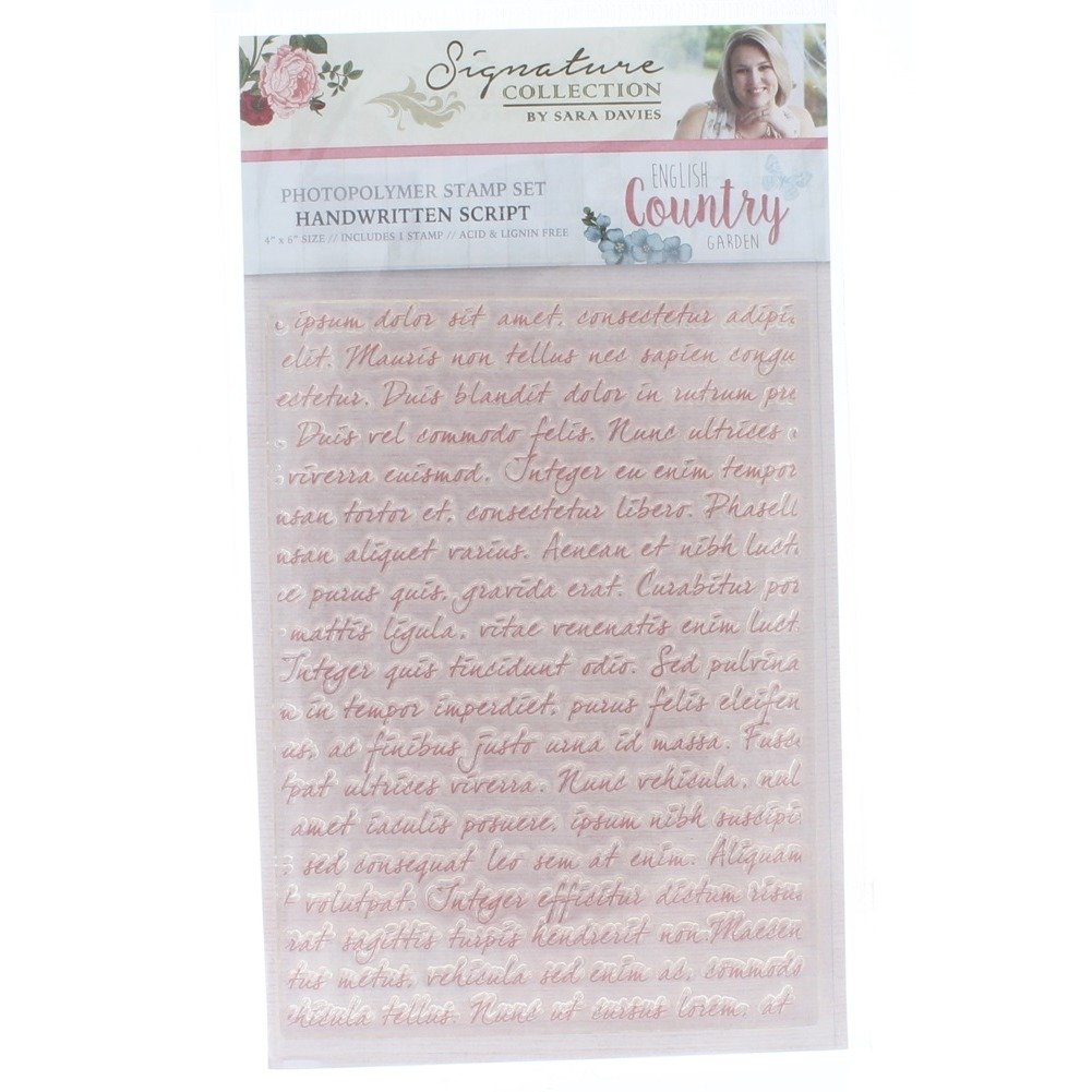 Crafter's Companion Clear Cling Rubber Stamp Handwritten Script Romantic