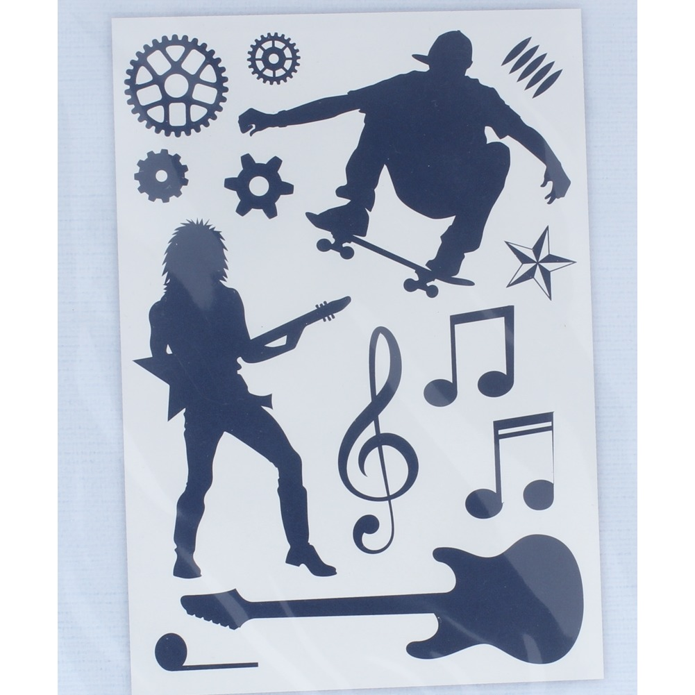 Crafter's Companion Clear Cling Rubber Stamp Music Skating Street Wise