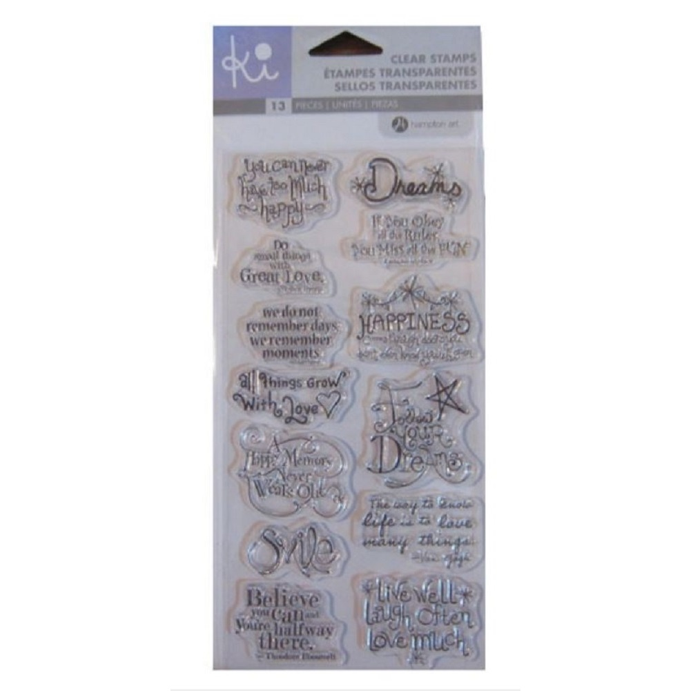 Hampton Art Cling Rubber Stamp Set Ki Greetings Playful Expressions Sentiments