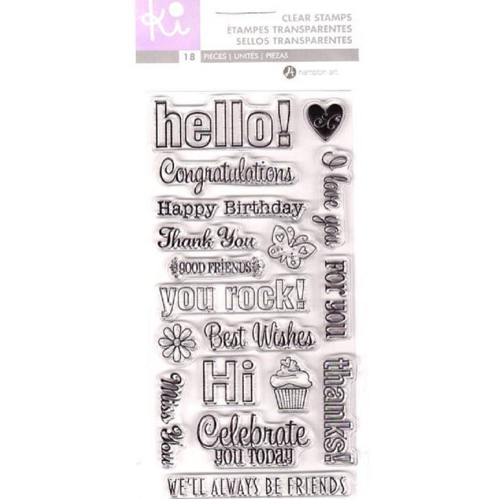 Hampton Art Cling Rubber Stamp Set Ki Greetings Hello Congratulations Birthday