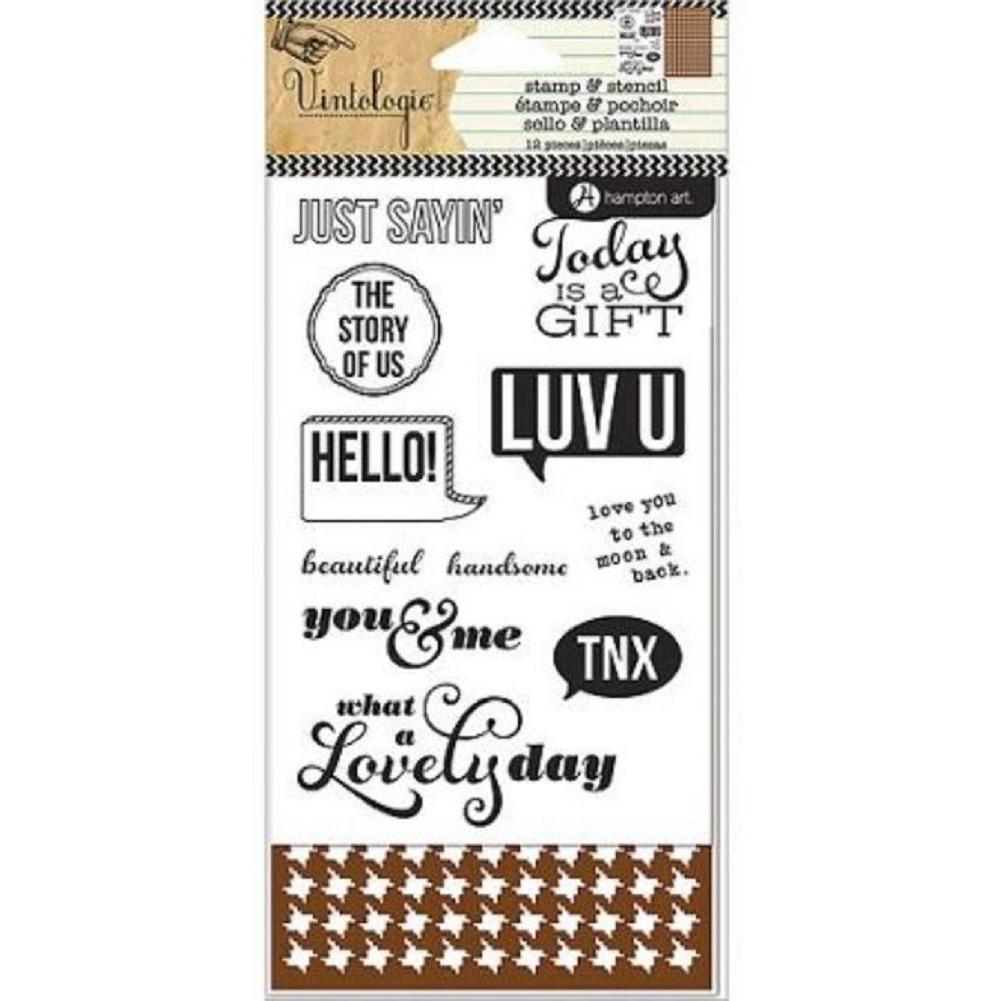Hampton Art Cling Rubber Stamp and Stencil Set Vintologie Greetings Sentiments