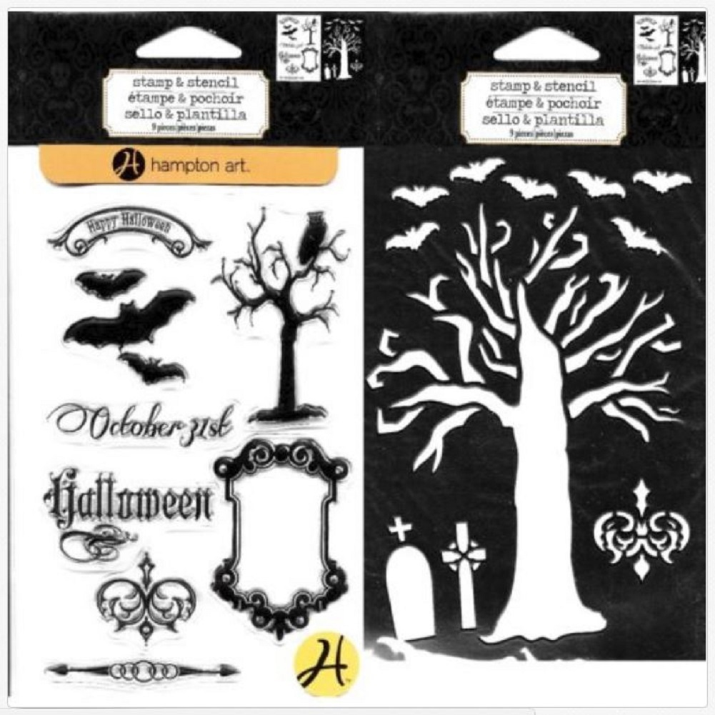 Hampton Art Stamp and Stencil Duo Set Halloween Tree October 31 Graves Bats