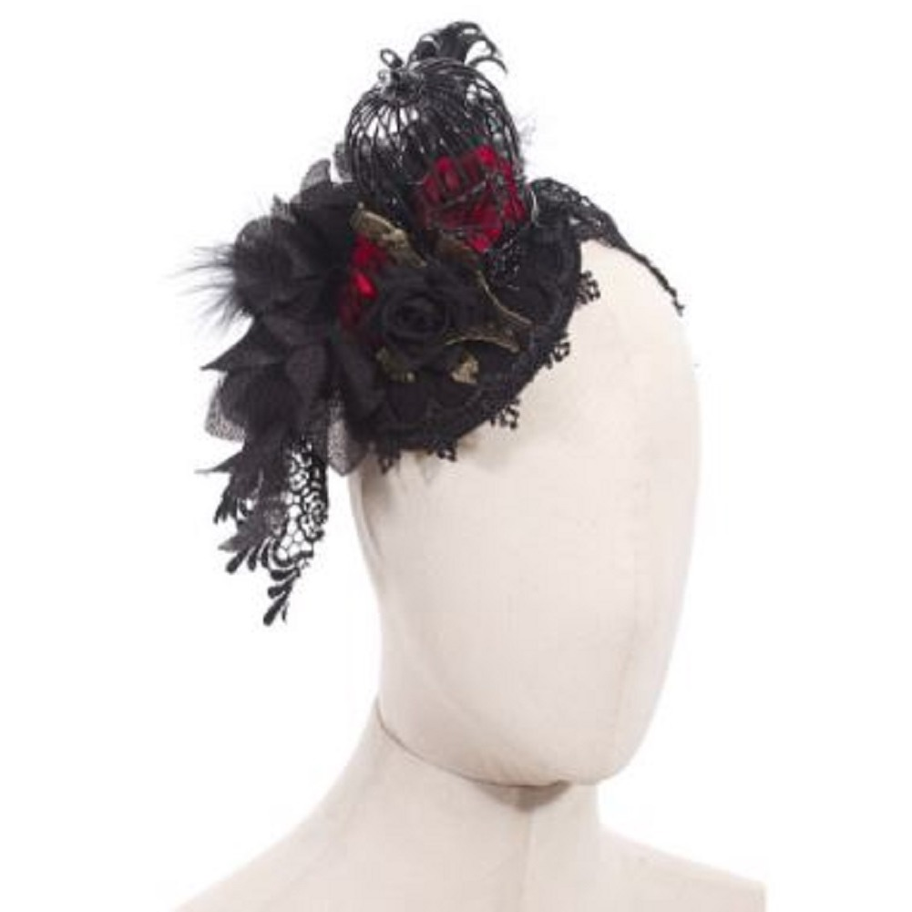 Steampunk Gothic Hat Cap with Birdcage Headdress in Black Feathers and Lace