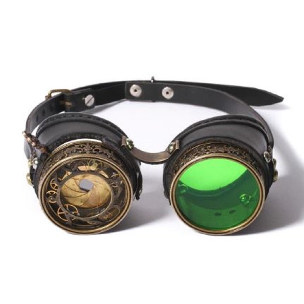 Black faux leather Steampunk Goggles Mask with Eye Focus Green Lens Gothic Punk