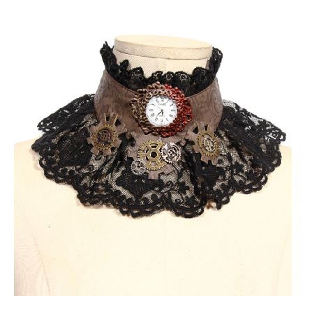 Steampunk Gothic Tick Tock  Lace Clockwork Choker Theater,
