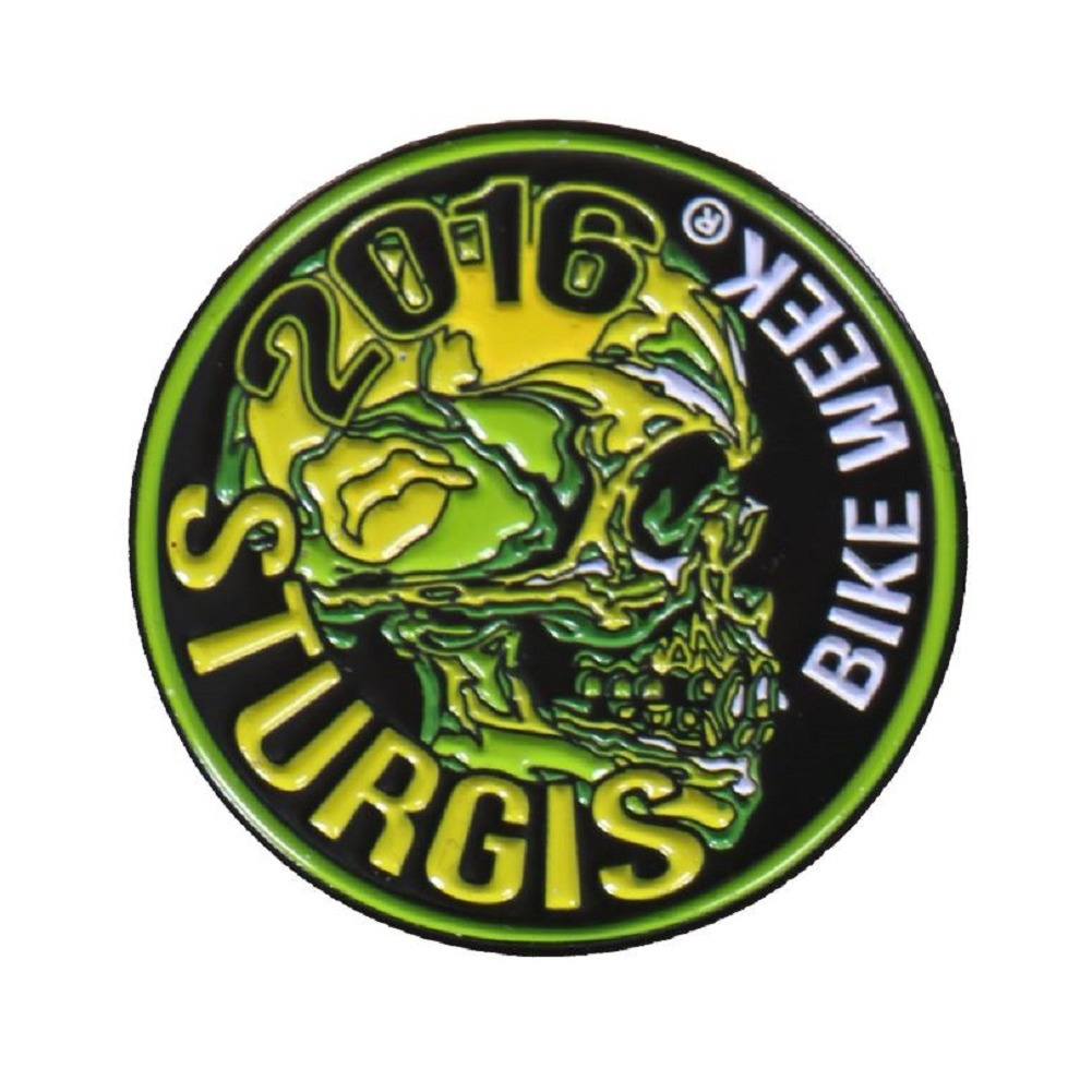 Sturgis Event Hat Lapel Vest Pin Bike Week 2016 Green and Yellow Skull