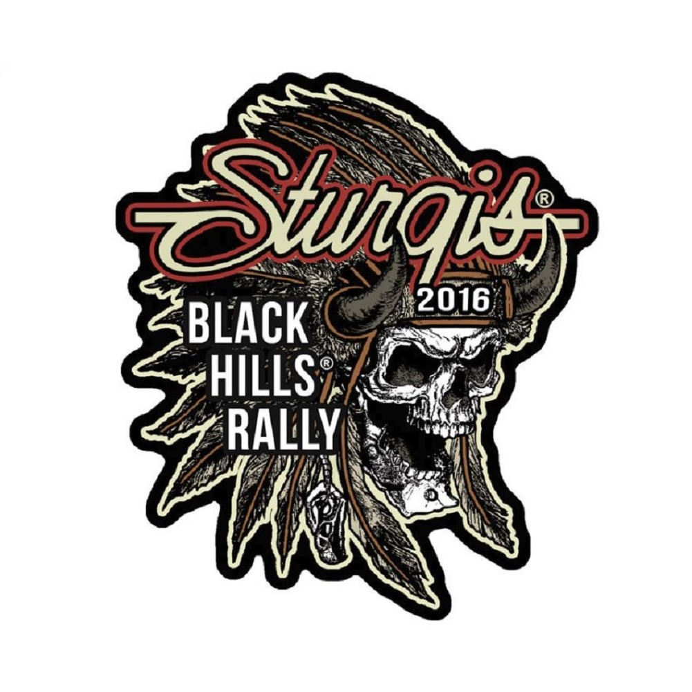 "Motorcycle Biker Uniform Patch 4"" x 3.5"" Sturgis 2016 Black Hills Rally Skull"