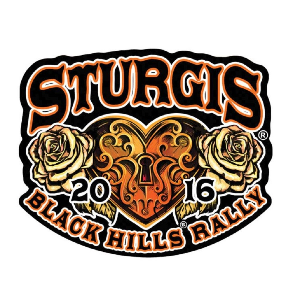 "Motorcycle Biker Uniform Patch 3.5"" x 3"" Sturgis 2016 Black Hills Rally Heart"
