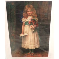 "Victorian Lithograph Print Picture ""Special Greetings"" Girl With Flowers 4"" X 6"""