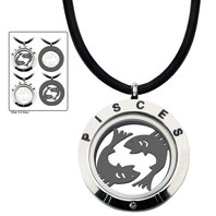 Inox Jewelry Stainless Steel 4-Way Pisces Zodiac Pendant Leather Cord Necklace