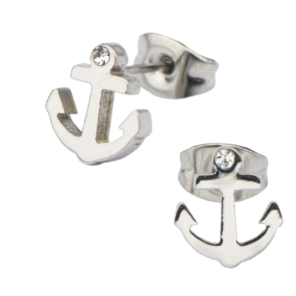 Inox Jewelry Nautical Anchor Rhinestone Bling Stainless Steel Post Stud Earring