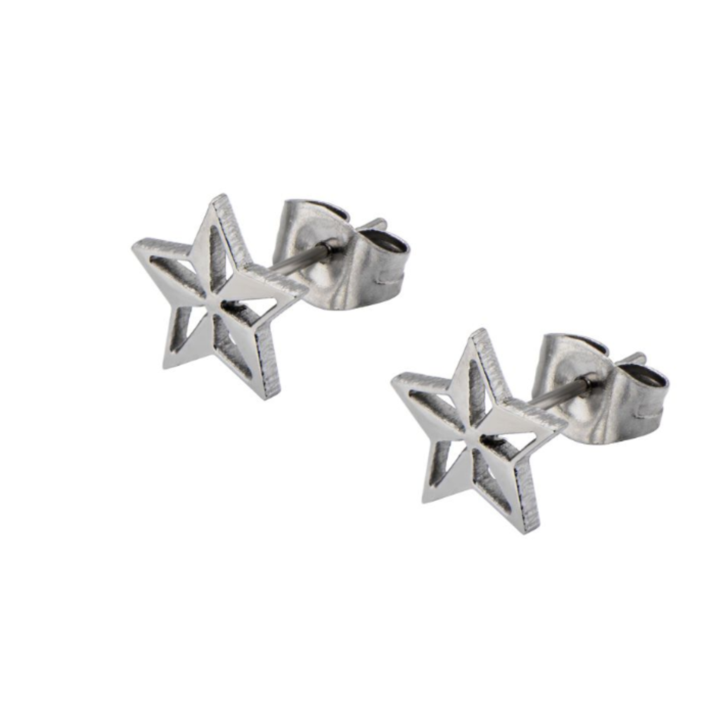 Inox Jewelry Silver Star Shape Cutout Stainless Steel Post Stud Earring