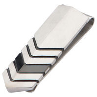 Inox Men'S Stainless Steel And Ip Black Chevron Money Clip Art Deco