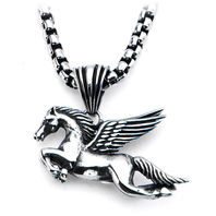 Inox Women'S Goth Stainless Steel Flying Pegasus Pendant Necklace