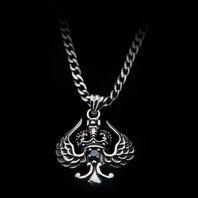 Inox Women'S Goth Stainless Steel Winged Black Gem Pendant Necklace #Ssp141Nk1