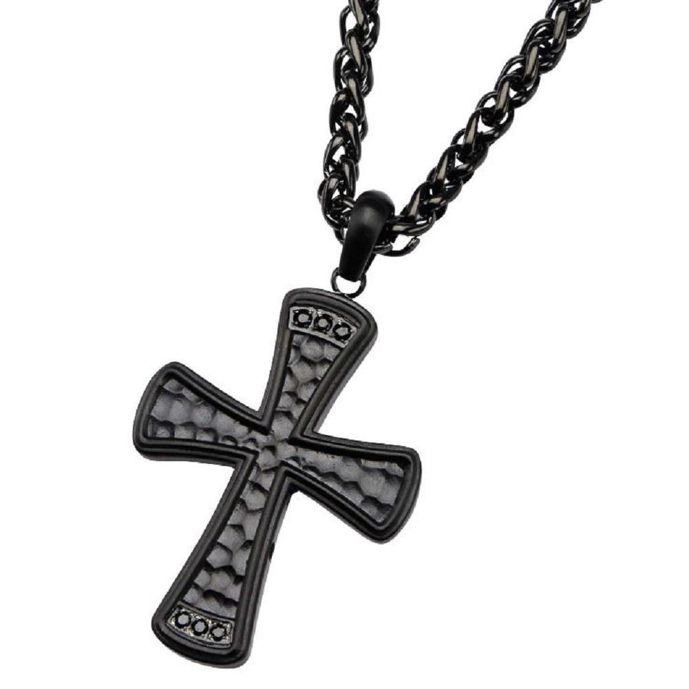 Inox Mens Stainless Steel Black IP Black CZ Hammered Cross Pendant Necklace