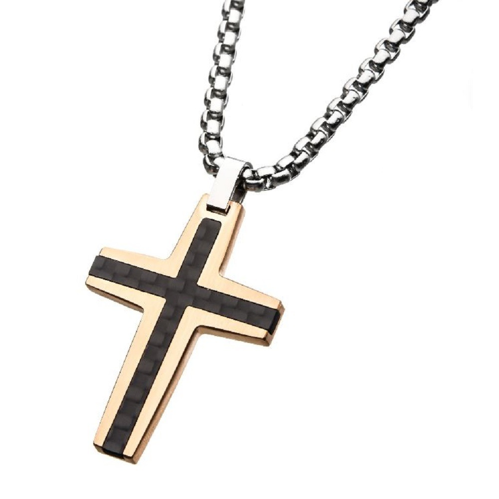 Inox Men'S Black and Rose Gold Cross IP Stainless Steel Necklace and Pendant