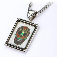 Inox Women'S Stainless Steel Vintage Sugar Skull Pendant Necklace